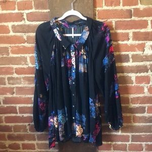 Free People oversized floral black button down top